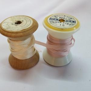 絹 ミシン糸 50番 GOLD TIRE 桜色 薄ピンク オフホワイト 白 中古品 ハンドメイド タイヤー印
