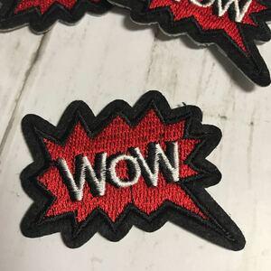 【ワッペン1枚】「WoW」☆英文吹き出し★アイロンワッペン☆入園入学新学期準備にアップリケ