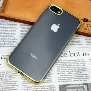 iPhpne SE2 / iPhone 8 / iPhone 7 TPUクリアケース (Gold) 薄型スリム メッキフレーム ★安心の国内発送★