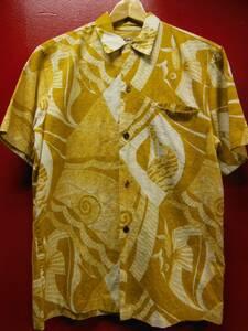 50S 米国ハワイ製 ビンテージ MADE IN HAWAII タグカスリ コットン生地 ハワイアン アロハシャツ/M US古着