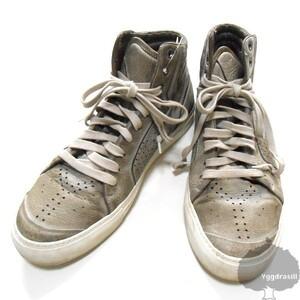 YGG★本物 Yves Saint Laurent イヴサンローラン ハイカット スニーカー 41 グレー レザー シューズ 靴 メンズ 27.5cm