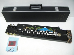【SZ4430】和楽器 ゼンオン 古賀大正琴 ピック 調子笛 ハードケース付き 錆びあり 中古品