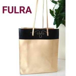 正規 FURLA フルラ バイカラー レザー ショルダーバッグ トートバッグ ハンドバッグ アイボリー 黒 ブラック イタリア製