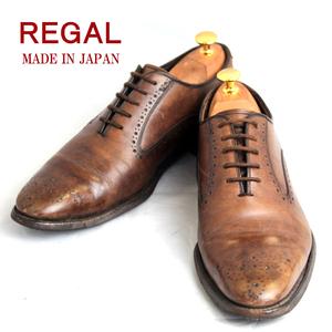 リーガル REGAL★ホールカット 24cm 日本製 メダリオン レザー ブラウン 茶 メンズ ビジネス ドレスシューズ f s-648