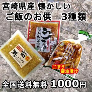 おかず 3種 黒酢生姜 ごぼう たくあん 宮崎の地場産品 ご飯のお供に おにぎりに おつまみに 宮崎のお漬物 送料無料 1000円ポッキリ