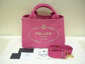 良品 PRADA プラダ カナパ キャンバス トート ハンド ショルダー バッグ 2way ピンク 国内直営店購入