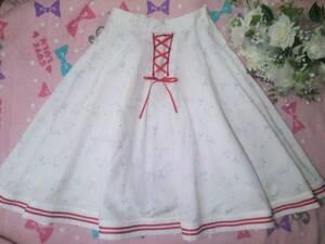 スワンキス SWANKISS メルヘン柄 ユニコーン & 風船 & 花柄 かわいい スカート ホワイト 白 Fサイズ