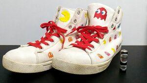 レア!! マッドフット パックマン スニーカー 28cm 白 ホワイト ファミコン ナムコ ハイカット MADFOOT PAC-MAN NAMCO 靴 sneakers 3Oap