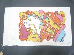 60~70's ビンテージ peter max ピーターマックス ピローケース 枕カバー 横顔 サイケ ヒッピー 両面プリント 50cm×86.5cm 布 飾りに