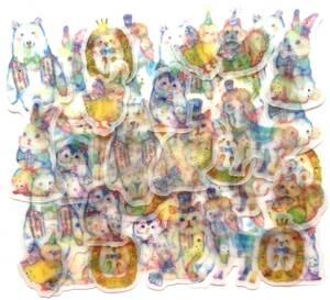 新品&即決 フレークシール8種48枚/動物 アニマル ひよこ 猫 リス 馬 フクロウ 鳥 うさぎ 熊 ハリネズミ/トレーシングペーパー素材/女の子
