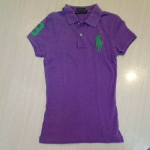 RALPH LAUREN ラルフローレン ビッグポニー ポロシャツ レディース S 紫 緑 ポロ