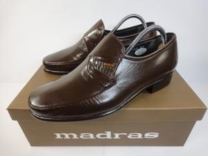 【マドラス】本物 madras 靴 24cm 茶 スリッポン ローファー ビジネスシューズ 本革 レザー 男性用 メンズ 日本製 箱有 未使用品 美品