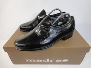 【マドラス】本物 madras 靴 24cm 黒 ローファー スリッポン ビジネスシューズ 本革 レザー 男性用 メンズ 日本製 箱有
