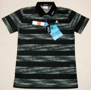 ルコック lecoq ゴルフ用高機能/冷感ポロシャツ 黒×グレー(ボーダー)色 サイズ M 軽量/吸水速乾/UVケア機能 定価 10,450円