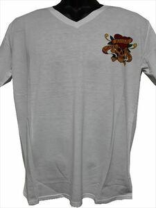 エドハーディー ED HARDY メンズ半袖Tシャツ ホワイト Lサイズ MV052 新品