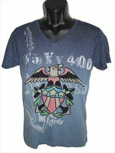 エドハーディー ED HARDY メンズ半袖Tシャツ Vネック ネイビー Sサイズ 新品
