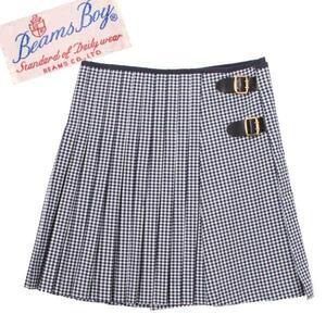 BEAMS BOY チェック柄 プリーツ ラップスカート sizeboy ネイビー ビームスボーイ 紺