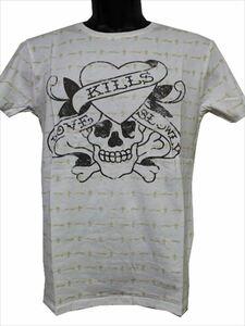 エドハーディー ED HARDY メンズ半袖Tシャツ ホワイト Lサイズ EDT014 新品