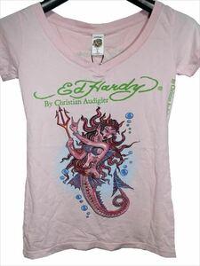エドハーディー ED HARDY レディース半袖Tシャツ ピンク Sサイズ デビルマーメイド 新品