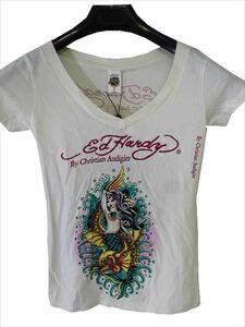 エドハーディー ED HARDY レディース半袖Tシャツ オフホワイト XSサイズ マーメイド 新品