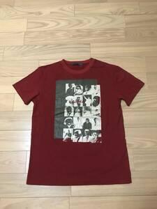 着用回数極少なめ 美品 AGOSTO アゴスト KARMA カルマ Tee ピクチャー フォト プリント大 Tシャツ サイズM相当 エンジ色 日本製 宗教