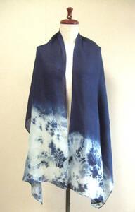 新作発表♪ 正藍染絞り・大判シルクガーゼストール (遮光100%収納袋付き)・ハンドメイド・オリジナル