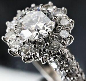超豪華!!!大粒 天然 ダイヤモンド 1.507ct F/SI1/VG サイド50P 2.09ct ★Pt900 プラチナ リング サイズ15号 ソ付★指輪 白金
