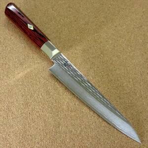 関の刃物 ペティナイフ 15cm (150mm) 三昧 波目 ダマスカス33層 VG-10 ステンレス 赤合板 果物包丁 皮むき 野菜 小型両刃ナイフ 国産日本製