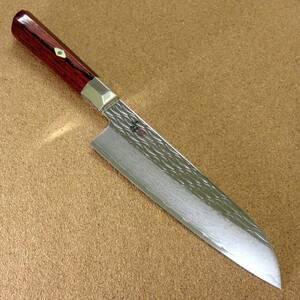 関の刃物 三徳包丁 18cm (180mm) 三昧 波目 ダマスカス33層 VG-10 ステンレス 赤合板 最高級 肉切り 魚処理 両刃万能包丁 文化包丁 日本製