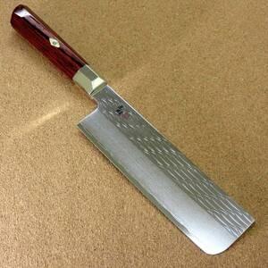 関の刃物 菜切り包丁 16.5cm (165mm) 三昧 波目 ダマスカス33層 VG-10 ステンレス 赤合板 野菜全般 両刃包丁 千切り 大根かつらむき 日本製