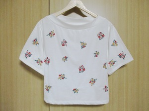 LOWRYS FARM/刺繍 トップス/カットソー Tシャツ/ホワイト 半袖/サイズM/わけあり品