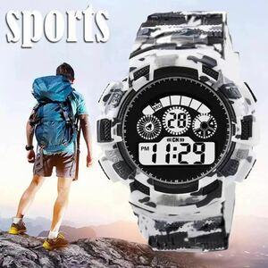スポーツ腕時計 LEDライト デジタル 腕時計 ミリタリー 耐久性 スポーツ アウトドア ランニング アウトドア カモフラージュ 白