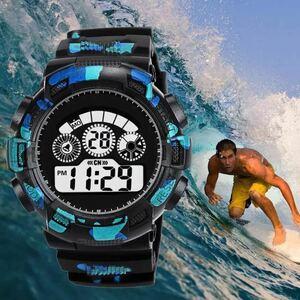 スポーツ腕時計 LEDライト デジタル 腕時計 ミリタリー 耐久性 スポーツ アウトドア ランニング アウトドア 男女兼用 カモフラージュ 青