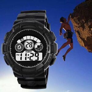 スポーツ腕時計 LEDライト デジタル 腕時計 ミリタリー 耐久性 スポーツ アウトドア ランニング アウトドア 男女兼用 ブラック シンプル