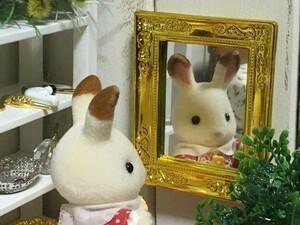 z114◆額縁豪華な鏡◆ ドールハウス 用 ミニチュア ミラー 鏡 かがみ 姿見 Doll House Blythe ハンドメイド バービー ブライス リカちゃん