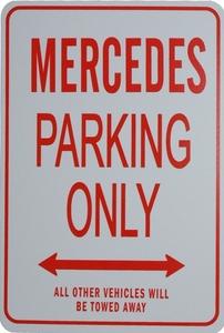 パーキングオンリー サイン 看板 ガレージに メルセデス ベンツ Sクラス W220 S320 S350 S430 S500 S500L S600L AMG S55 S55L S63L S65L