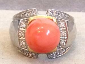 即決 極太 K18 Pt900 大粒 珊瑚 サンゴ ダイヤモンド 0.21ct リング 指輪 16号 美品 資産 高級 ゴージャス 18金 プラチナ コンビ 送料無料