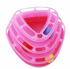 ◆当日発送◆ 送料無料 即決 Alnair 猫おもちゃ トライアングル 三角 遊び 運動不足 ストレス 解消 ペット用品 ボールディスク ピンク