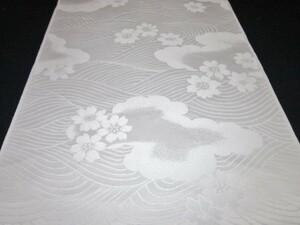 【京わぎれ】正絹 白生地はぎれ2枚 波と雲取に花 1.6m×2枚 計3.2m①
