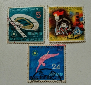 第3回アジア競技大会 1958年 国立競技場 聖火とマーク ダイビング