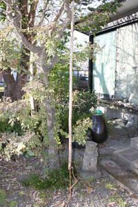 時代物 古い鉄横木 竹自在鉤 すす竹■骨董古民具囲炉裏鉄瓶①