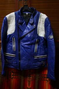 希少 紺 SYKMAN イギリス 70s ビンテージ 変型 UK ロンジャン ライダース ■ ルイスレザー belstaff モーターサイクル レザー ジャケット