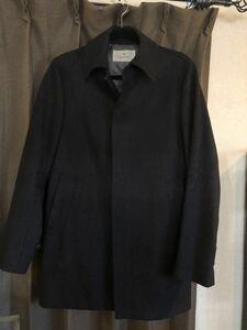 【美品】 EDIFICE エディフィス メルトンコート ステンカラーコート チェスターコート ブラック 黒 メンズ Mサイズ 定価7万