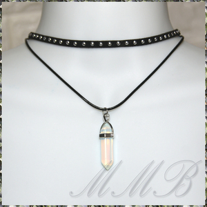 [NECKLACE] Natural Stone Velvet Leather Choker 六角柱 OPAL オパール ペンダント ダブル レザー チョーカー ネックレス