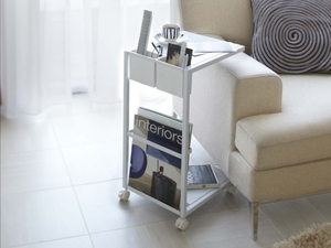 キャスター付き サイドテーブル(ホワイト)ソファテーブル ワゴン リモコン収納 マガジンラックテーブル ベッドサイド コの字 スチール 白