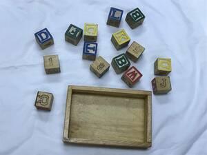 木のおもちゃ 英語ブロック 知育玩具 使い方不明 USED