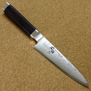 関の刃物 ペティナイフ 12cm (120mm) 貝印 関孫六 鍛錬 33層ダマスカス V金10号 果物包丁 野菜 果物皮むき 飾り切り 小型両刃ナイフ 日本製