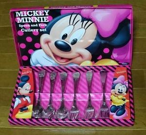 ディズニー ミッキー&ミニー スプーン&フォーク カトラリーセット 「未使用品」