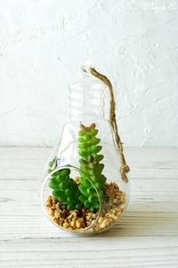 フェイクグリーン Terrarium Lamp S ( テラリウム 壁掛け 多肉植物 吊り下げ 人工観葉植物 おしゃれ 壁飾り ハンギング サボテン ) HT gr77