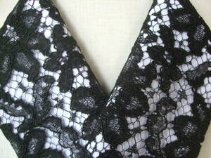 【さくら】43 街着に最適な黒いレース♪*チュールレース絹交織半襟・手縫い